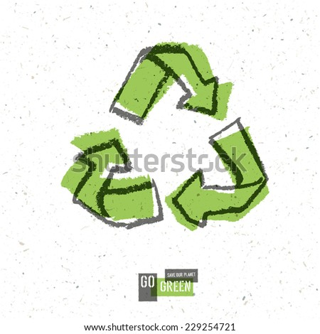 Go Green Concept Poster With Recycled Sign. Vector - stock vector
