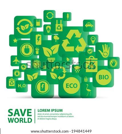 Go green concept. Save world vector Illustration. - stock vector
