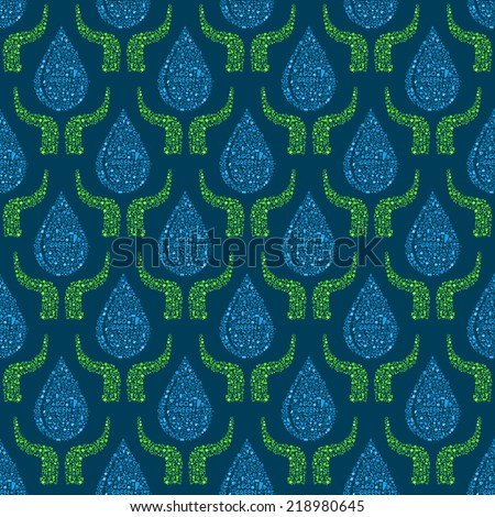 Go Green Concept Seamless Pattern. Hands Holding Blue Water Drops. Pollution and Eco Style - stock vector