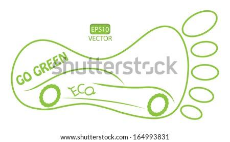 Go green concept vector design with footmark and eco friendly car. Easy to edit eps10 ecological vector. - stock vector