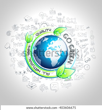 Go Green Conceptual background with hand drawn infographic sketches  - stock vector
