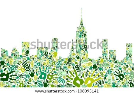 Go green crowd human hands icons in city skyline composition isolated over white. Vector file layered for easy manipulation and custom coloring - stock vector
