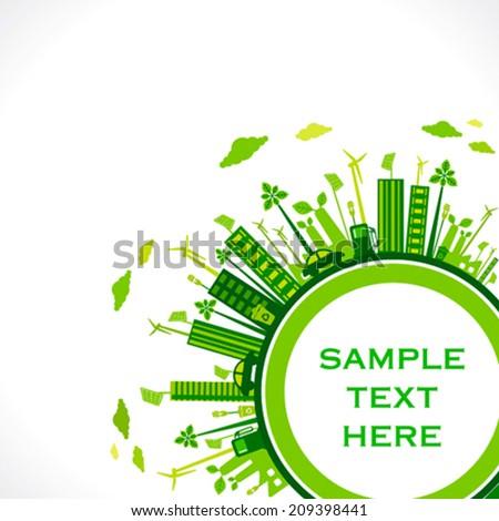 go green earth or green city save earth concept vector - stock vector