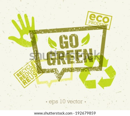Go green eco organic vector design elements and stamps on paper background - stock vector