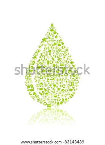 go green eco pattern in drop silhouette on white backdrop - bulb, leaf, globe, apple, house, trash. Ecology concept. - stock vector