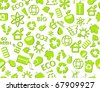 go green eco seamless pattern on white backdrop - bulb, leaf, globe, drop, apple, house, trash, arrow - stock vector