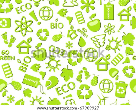 go green eco seamless pattern on white backdrop - bulb, leaf, globe, drop, apple, house, trash, arrow