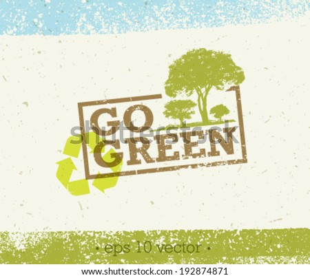 Go Green Eco Tree Organic Vector Composition on Paper Background - stock vector