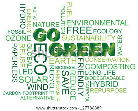Go Green Eco Word Cloud Illustration Isolated on White Background Vector - stock vector