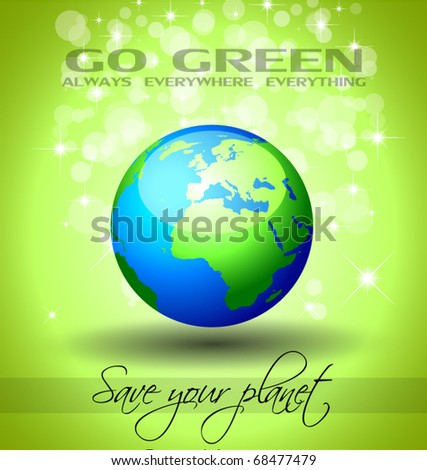 Go Green Ecology Background for Environmental Respect Posters - stock vector
