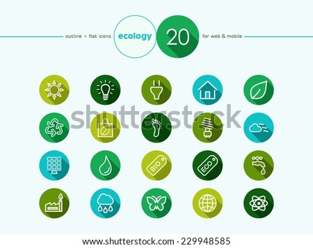 Go green environment and ecology outline flat icons set for web and mobile app. EPS10 vector file organized in layers for easy editing. - stock vector