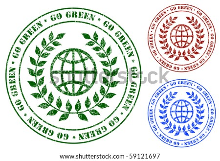 Go Green - Grunge Green Earth Sign Stamps