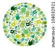 Go green human hands icons in circle composition background. Vector file layered for easy manipulation and custom coloring - stock vector