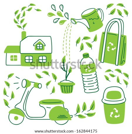 go green icon in doodle style - stock vector