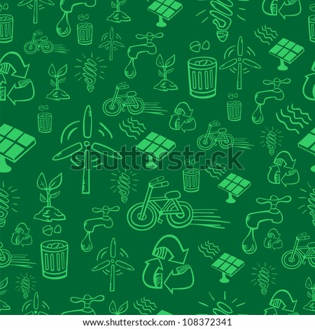 Go green icon set seamless pattern. Vector file layered for easy manipulation and custom coloring. - stock vector