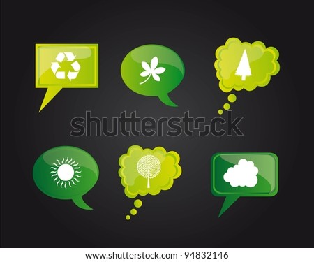 Go green icons on bubbles on black background, Vector Illustration