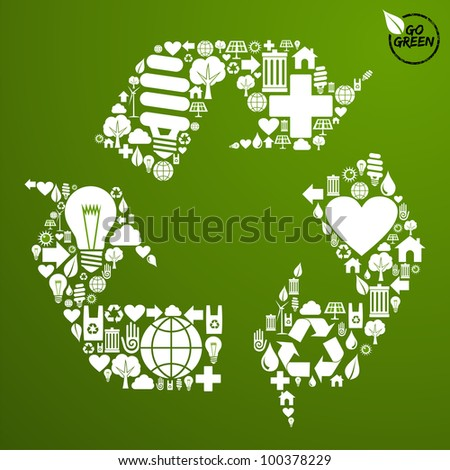 Go green icons set in recycle symbol shape background. Vector file available.