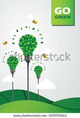Go green illustration. Bulbs made from leaves.