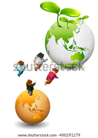 go green illustration concept .people go to green world - stock vector
