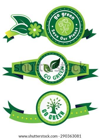 Go Green Label (vector) - stock vector