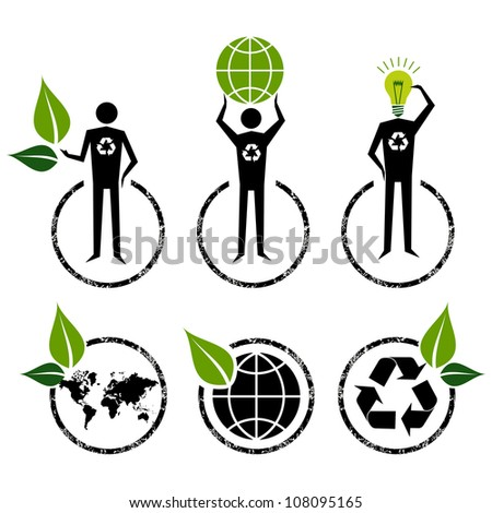 Go Green people symbol ideas. Vector file layered for easy manipulation and custom coloring. - stock vector