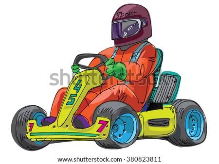 go kart - cartoon - stock vector