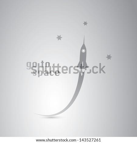 Go to Space - Rocket Icon - stock vector