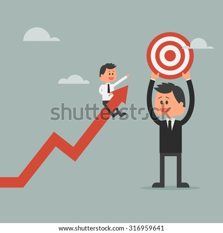 Goal achievement concept. Motivation concept to be successful in business and life. Vector illustration in flat design. - stock vector