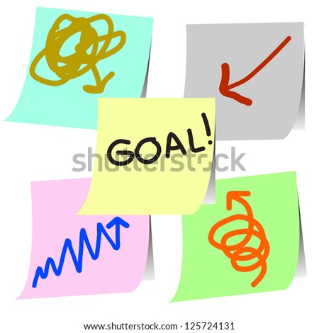 goal plan note on paper sticker vector