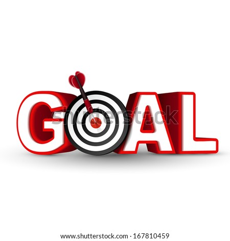 goal red word and conceptual target with arrow on white background  - stock vector