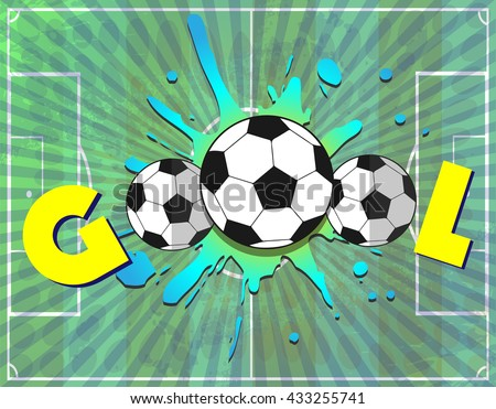 Goal Soccer Template Illustration. Sports Text Banner. Three soccer balls on a playing field background. Digital background vector illustration. - stock vector