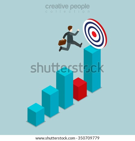 Goal target movement through obstacle flat 3d isometry isometric business concept web vector illustration. Man jump over chart bar graphic reach round target aim sign. Creative people collection. - stock vector