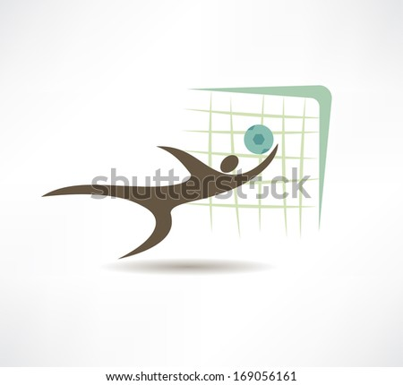 goalie protects the gate icon - stock vector