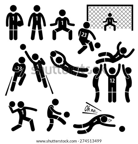 Goalkeeper Actions Football Soccer Stick Figure Pictogram Icons - stock vector
