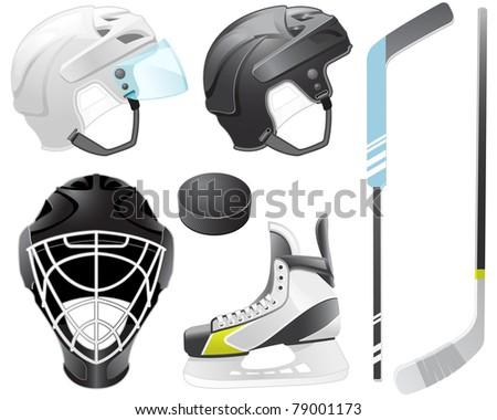 Goaltender helmet, hockey sticks, skate and puck - stock vector