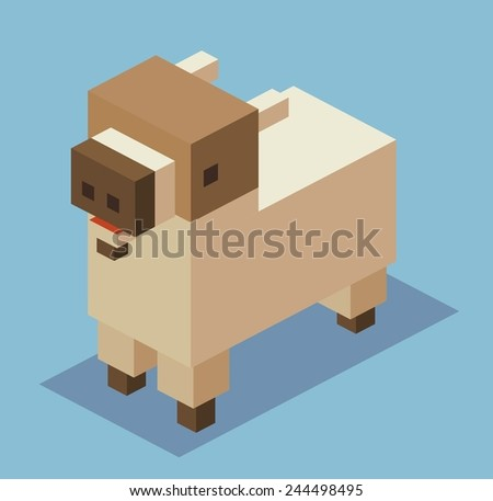 goat. 3d pixelate isometric vector - stock vector
