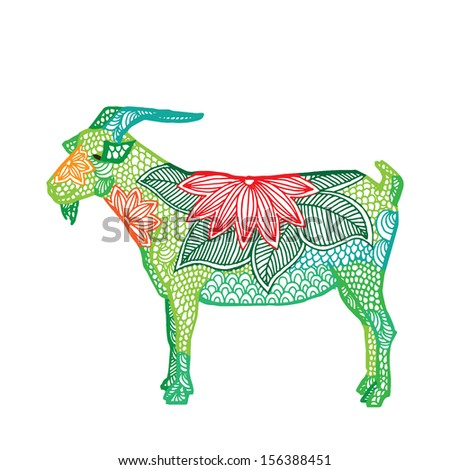 Goat illustration- Chinese zodiac  - stock vector