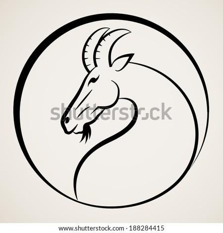 Goat symbol  - stock vector