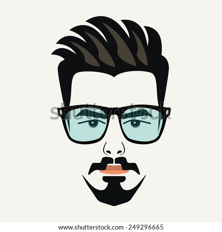 Goatee beard young hipster male with highlighted hair and  blue lenses glasses - stock vector