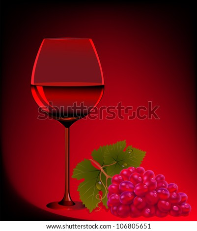 goblet blame and branch of grape - stock vector