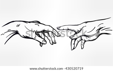 God and Adams hands. Creation of human. Genesis. Hope faith and help, assistance and support in religion. Isolated vector illustration. Tattoo design, spiritual symbol for your use. - stock vector