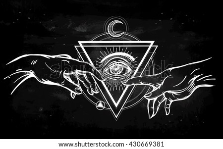 God and Adams hands. Creation with all seeing divine eye. Hope faith and help, assistance and support in religion. Isolated vector illustration. Tattoo design, spiritual symbol for your use. - stock vector