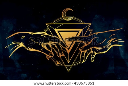 God and Adams hands. Creation with sacred symbol. Hope faith and help, assistance and support in religion. Isolated vector illustration. Tattoo design, spiritual symbol for your use. - stock vector