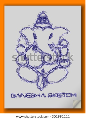 God Ganesha Pen Sketch (EPS10 Vector) - stock vector