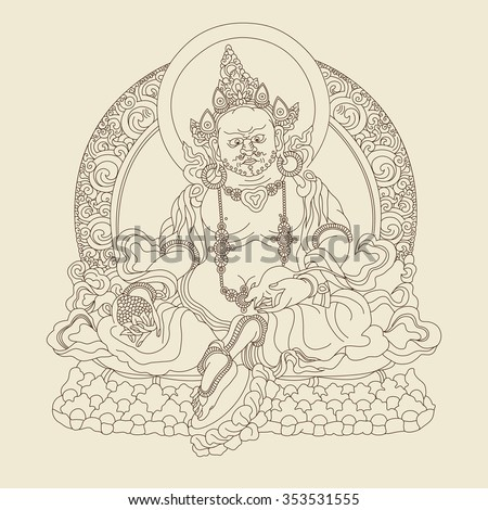 God Kubera. The God of wealth and treasures. Indian, Hindu motifs. Tattoo, yoga, spirituality, textiles. Vector illustration.