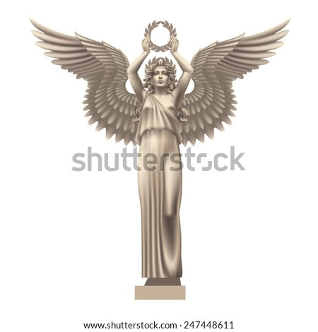 Goddess of victory Nike on a white background - stock vector