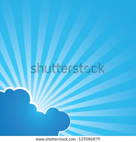 Godrays in the sky - light beams from the sun behind clouds - decorative vector background - stock vector