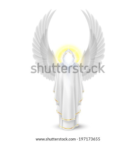 Gods guardian angel in white. Archangels image. Religious concept - stock vector