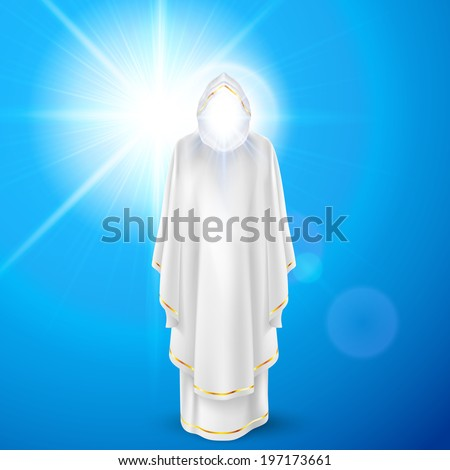 Gods guardian angel in white dress against sky background and bright sun flare. Religious concept - stock vector