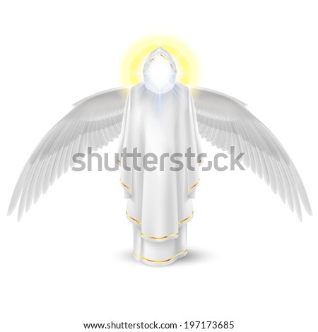 Gods guardian angel in white with wings down. Archangels image. Religious concept - stock vector